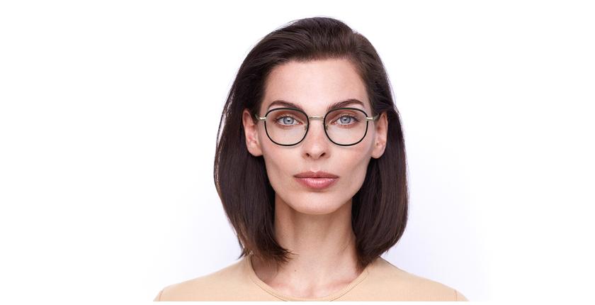 Lunettes de vue femme MARC 478 noir/doré - Vue de face