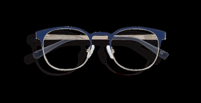 Lunettes de vue homme JUSTIN bleu/argenté - Vue de face