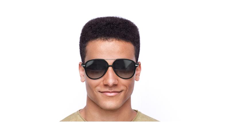 Lunettes de soleil homme BASAURI noir/blanc - Vue de face