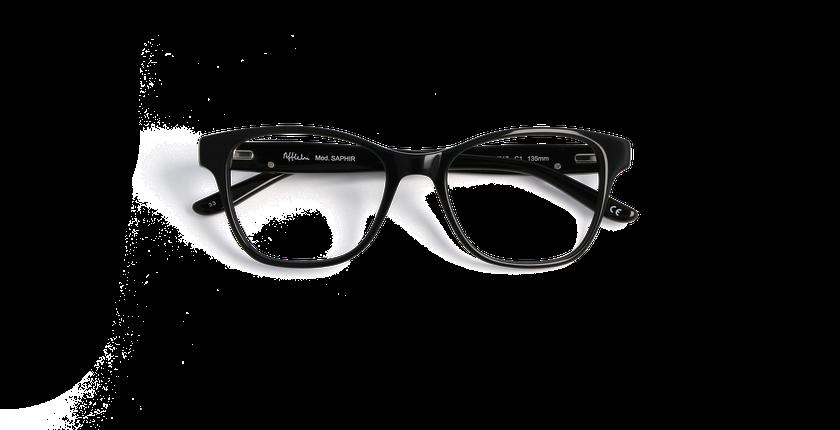 Lunettes de vue femme SAPHIR noir - Vue de face