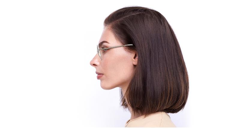 Lunettes de vue femme IDEALE-30 doré/beige - Vue de côté