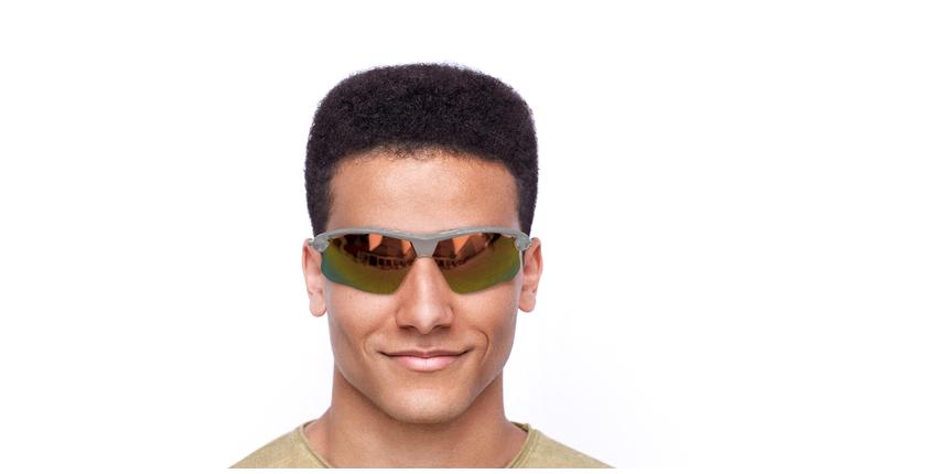 Lunettes de soleil homme Rog gris/turquoise - Vue de face