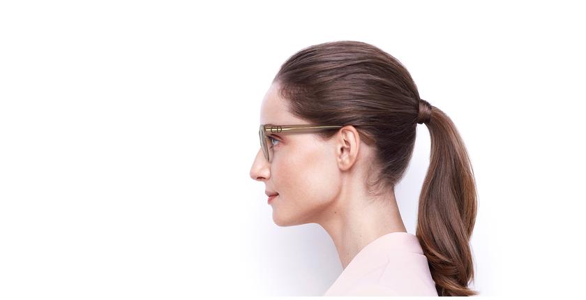 Lunettes de vue femme CD4 beige - Vue de côté