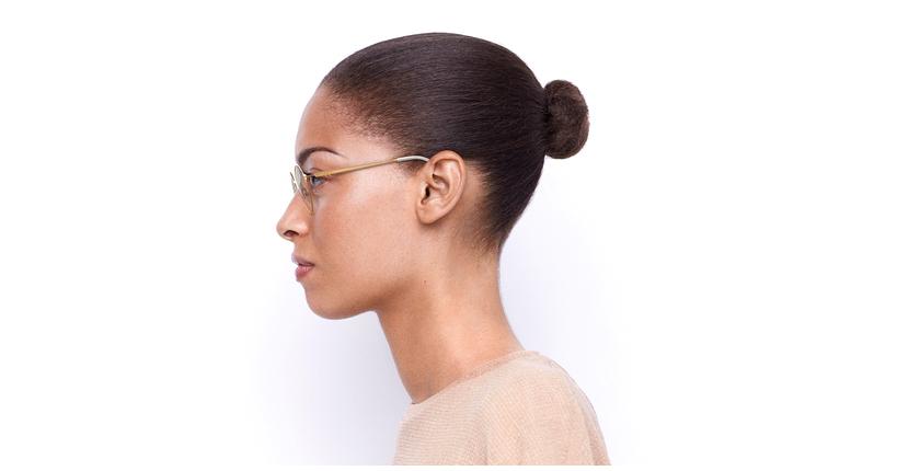 Lunettes de vue femme VENUS blanc/beige - Vue de côté