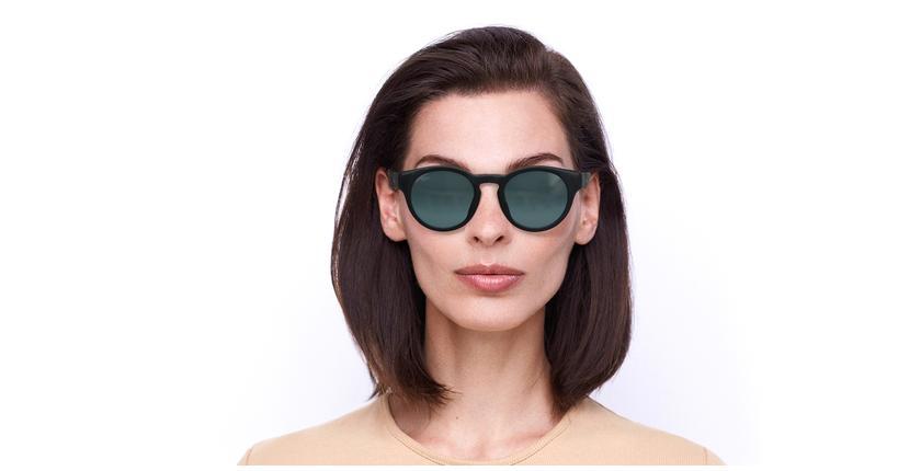 Lunettes de soleil femme SLALOM noir/turquoise - Vue de face