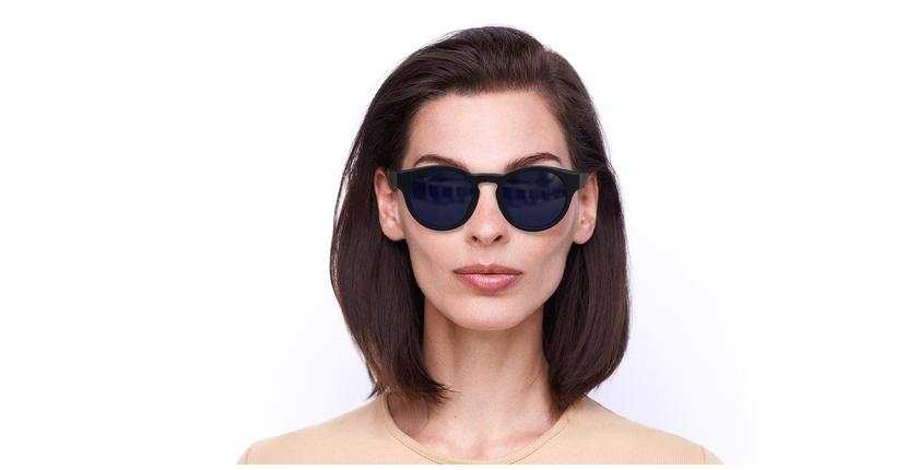 Lunettes de soleil femme SLALOM noir/bleu - Vue de face