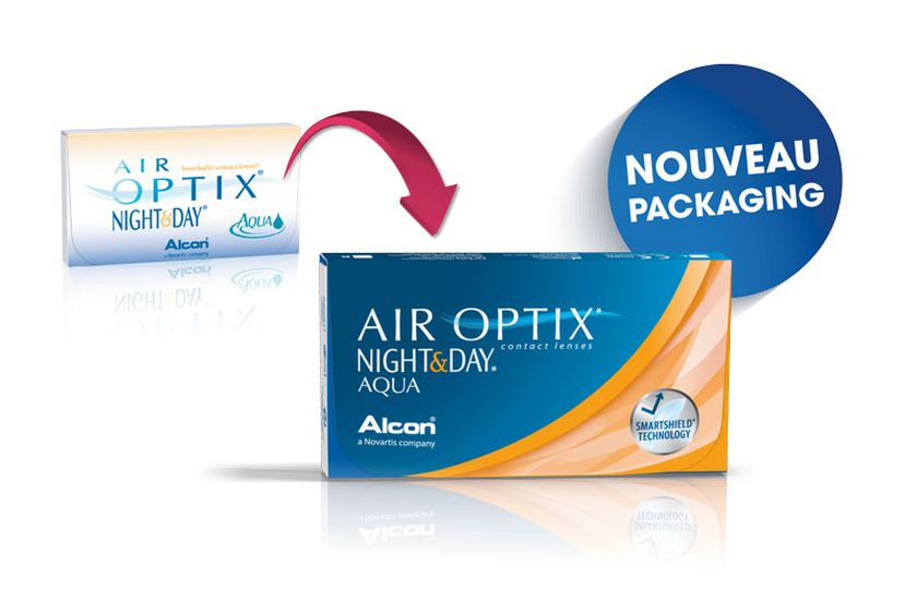 Lentilles de contact Air Optix Aqua Night Day 6L - Vue de face