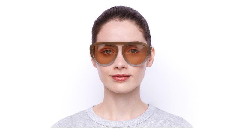 Lunettes de soleil femme VS0021 beige - Vue de face