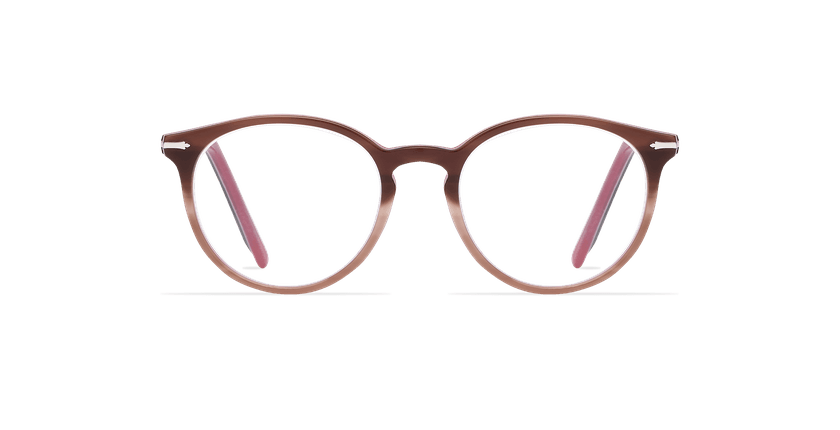 Lunettes de vue femme OYONNAX marron/rose - Vue de face