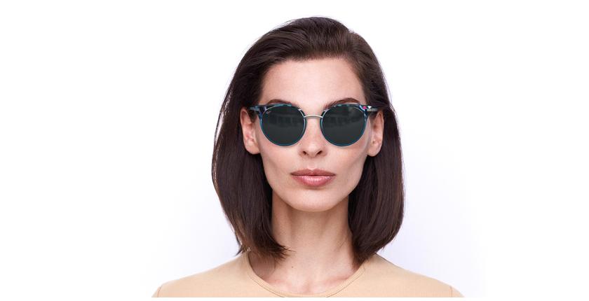 Lunettes de soleil femme BARCELO bleu - Vue de face