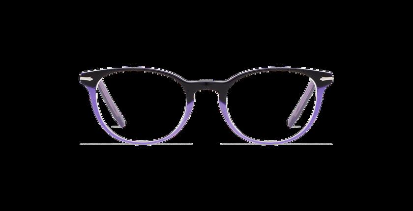 Lunettes de vue femme NANTUA noir/violet - Vue de face