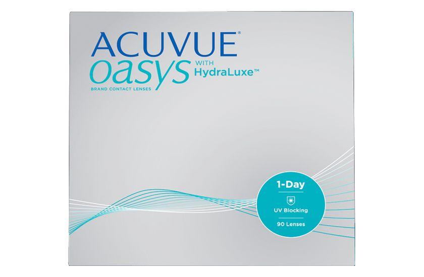 Lentilles de contact Acuvue® Oasys® 1 Day with Hydraluxe™ 90L - Vue de face