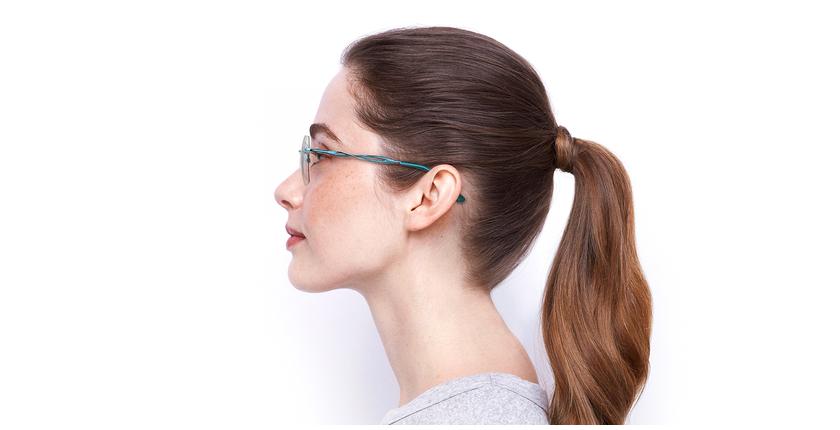 Lunettes de vue femme IDEALE-33 turquoise - Vue de côté