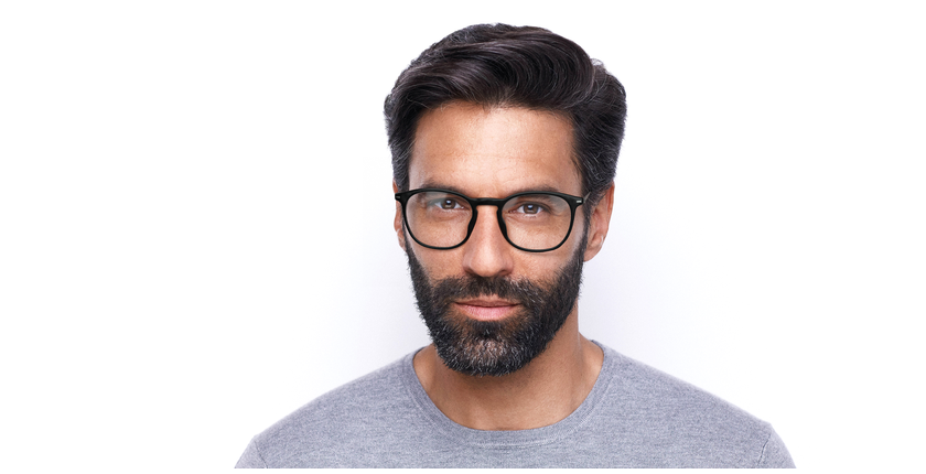 Lunettes de vue homme UMBERTO noir/argenté - Vue de face