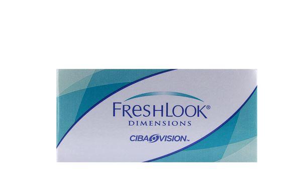 Lentilles de contact FreshLook Dimensions Aqua 2L (sans correction) - Vue de face