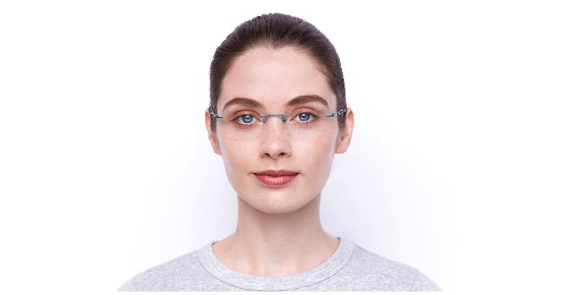 Lunettes de vue femme IDEALE-33 turquoise - Vue de face