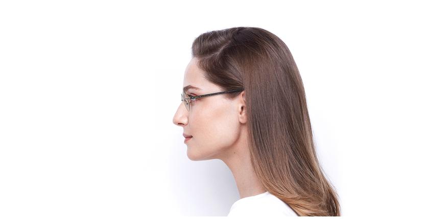 Lunettes de vue femme IDEALE-25 doré/noir - Vue de côté