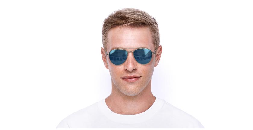 Lunettes de soleil homme SPL995 argenté - Vue de face