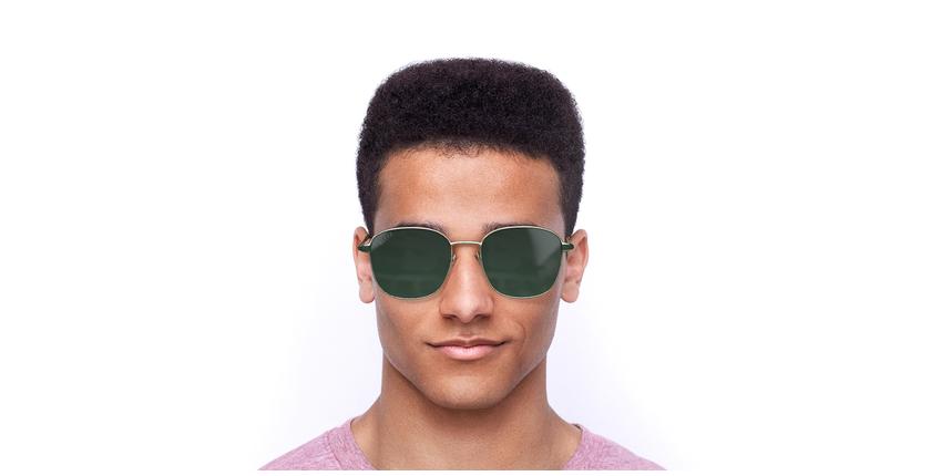 Lunettes de soleil homme  doré/vert - Vue de face