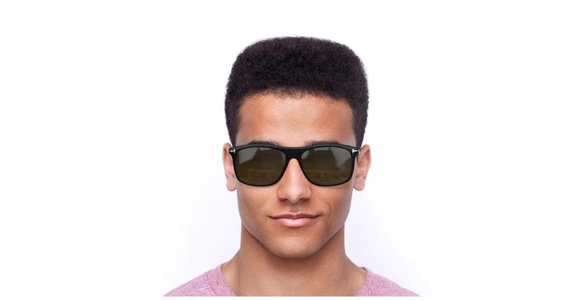 Lunettes de soleil homme MAX noir/marron - Vue de face