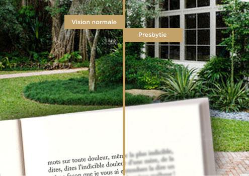 Image décrivant à gauche une vision normale et à droite une vision avec presbytie