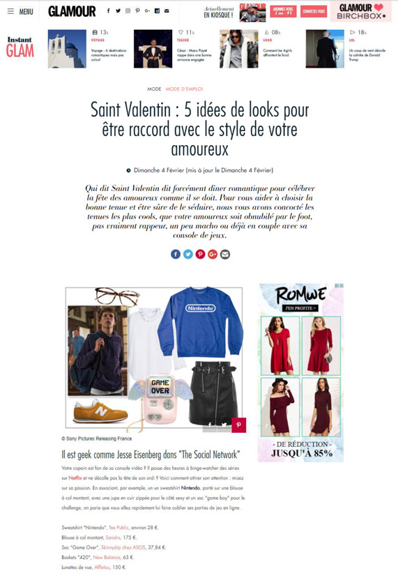 Couverture presse : Glamour.fr