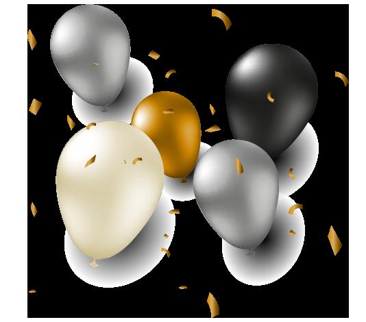 Globos y confetis